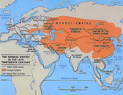Map of Ghenghis Khan's Mongol Empire